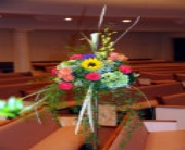 Floral Decorations on Pew in Lancaster PA, Heather House Floral Designs