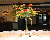 Orange, Red, Yellow Centerpiece in Lancaster, Pennsylvania, Heather House Floral Designs