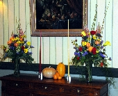 Fall Side Table Decor in Lancaster, Pennsylvania, Heather House Floral Designs