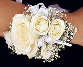 White Ice Roses Wristlet in Ypsilanti, Michigan, Norton's Flowers & Gifts