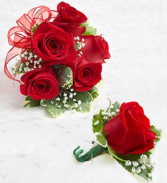 Red Wristlet Corsage & Boutonniere Set in Woodbridge VA, Lake Ridge Florist