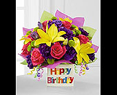 FTD Happy Birthday Bouquet in white ceramic block in Richmond BC, Terra Plants & Flowers