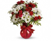 Red White And You Bouquet by Teleflora in Redwood City CA, A Bed of Flowers