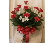 DOZEN RED ROSES WITH LILIES in Sanford NC, Ted's Flower Basket