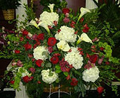 Red and White Standing Basket in New Rochelle NY, Enchanted Flower Boutique
