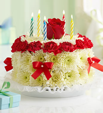 BIRTHDAY FLOWER CAKE RED in Vienna VA, Vienna Florist & Gifts
