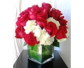 Roses and Hydrangea Cube in San Diego CA, The Floral Gallery
