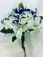 BLUE TIPPED WHITE CARNATION BOUTONNIERE in Ossining NY, Rubrums Florist Ltd.