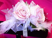 PINK ROSE W/ FEATHERS & R. STONES in Ossining NY, Rubrums Florist Ltd.