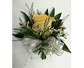1 Yellow Rose Corsage in Raleigh NC, Gingerbread House Florist - Raleigh NC