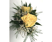 2 Yellow Rose Corsage in Raleigh NC, Gingerbread House Florist - Raleigh NC