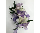 Purple Hydrangea & White Alstro Corsage in Raleigh NC, Gingerbread House Florist - Raleigh NC