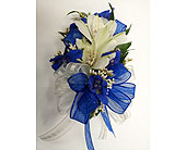 White Alstro & Blue Delphium Corsage in Raleigh NC, Gingerbread House Florist - Raleigh NC