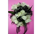 White Hydrangea Corsage in Raleigh NC, Gingerbread House Florist - Raleigh NC