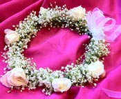 BABIES BREATH CROWN W/ WH. ROSES in Ossining NY, Rubrums Florist Ltd.