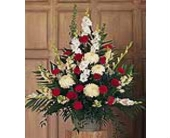 Red & White Condolensces Arrangement in Aston PA, Wise Originals Florists & Gifts
