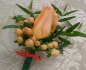 Peach Power Boutonniere in Saratoga Springs, New York, Dehn's Flowers & Greenhouses, Inc