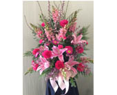 Pink Funeral Arrangement in Carmichael, California, Bettay's Flowers