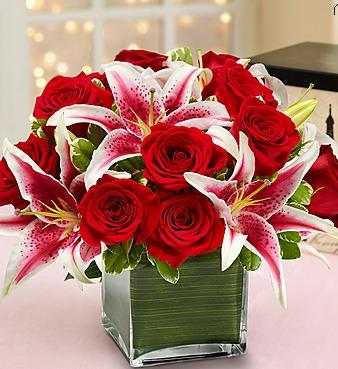Modern Embrace Red Roses and Lilies
