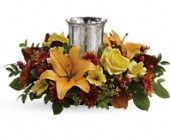 Glowing Gathering Centerpiece by Teleflora in St. Clair Shores MI, DeRos Delicacies