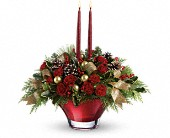 Tuckahoe Flowers - Teleflora's Holiday Flair Centerpiece - Flowers By Candlelight