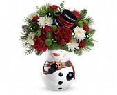 Gilbert Flowers - Teleflora's Snowman Cookie Jar Bouquet - Lena's Flowers & Gifts