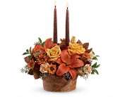 Auburndale Flowers - Teleflora's Wrapped In Autumn Centerpiece - The Fantasy Shoppe