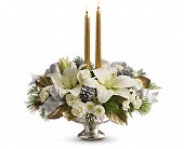 Teleflora's Silver And Gold Centerpiece in Bradenton FL, Tropical Interiors Florist