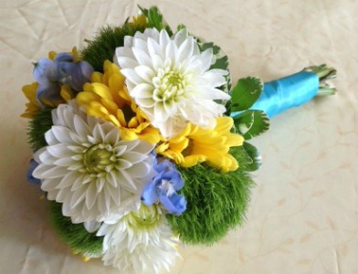 White, Yellow, Blue and Green Bridesmaid Bouquet  in Lemont, Illinois, Royal Petal