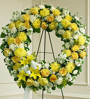 Serene Blessings Standing Wreath - Yellow in Oakland, California, From The Heart Floral