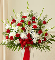 Heartfelt Sympathies Standing Basket-Red & White in Oakland CA, From The Heart Floral