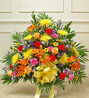 Heartfelt Tribute Floor Basket Arrangement- Bright in Oakland CA, From The Heart Floral