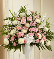 Heartfelt Sympathies Standing Basket-Pink & White in Oakland CA, From The Heart Floral