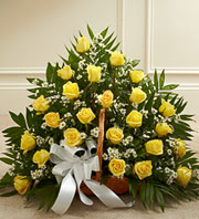 Sincerest Sympathies Fireside Basket - Yellow in Oakland, California, From The Heart Floral