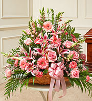 Thoughts and Prayers Fireside Basket - Pink in Oakland, California, From The Heart Floral