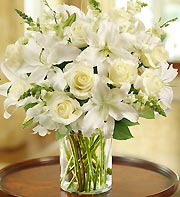 Classic All White Arrangement for Sympathy in Oakland CA, From The Heart Floral