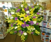 Purple & Yellow Tribute in Frankfort IL, The Flower Cottage