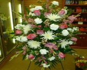 Hot Pink & White Tribute in Frankfort IL, The Flower Cottage