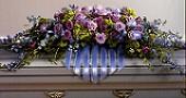 Delphinium and Lavender Rose Casket Spray in Schaumburg, Illinois, Olde Schaumburg Flowers