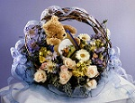 Blue and Ivory Faux Basket Casket Spray in Schaumburg, Illinois, Olde Schaumburg Flowers