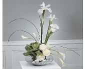 Stylized White Arrangement with Ornamental Cabbage in Aston PA, Wise Originals Florists & Gifts