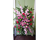 Simply Pinks Funeral Spray in Raleigh NC, Gingerbread House Florist - Raleigh NC