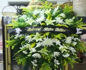 yellow and white stand spray in Waipahu, Hawaii, Waipahu Florist