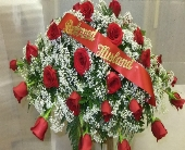 red rose casket spray in Waipahu HI, Waipahu Florist