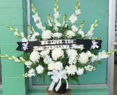 all white sympathy arrangement in Waipahu HI, Waipahu Florist