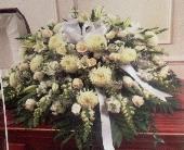 All white casket spray in Staten Island, New York, Buds & Blooms Florist