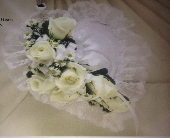 White Satin Heart Pillow in Staten Island NY, Buds & Blooms Florist