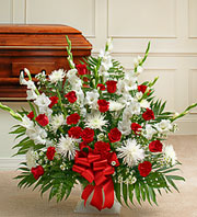 All Red and White Sympathy Basket in Staten Island NY, Buds & Blooms Florist