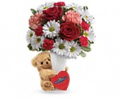 Teleflora's Send a Hug Bear Your Heart Bouquet in Oakland CA, Lee's Discount Florist