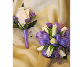 White Rose and Purple Corsage and Bout in Wake Forest NC, Wake Forest Florist
